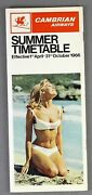 Cambrian Airways Airline Timetable Summer 1966 Route Map Cabon Crew Pics