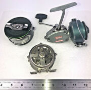 Lot Of 3 Fishing Reels For Parts Or Repair Heddon Shakespeare Spider Fly Reels