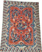 Oriental Carpet Antique Chinese Ningxia Wool Rug C 1885 With Dragons 9and039 X 6and039