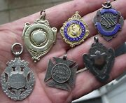 Six Antique Vintage Sterling Silver Pocket Watch Chain Fobs Medals. 64g
