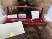 Buck 20th Anniversary Harley Glide Bowie Knife In Case Mint Gold Etch Rare +++++