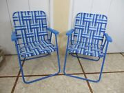 2 Webbed Folding Lawn Chairs Blue And White Camping Beach Very Sturdy And Strong