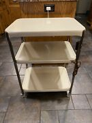 Vintage Costco White Serving Rolling Cart With Electric Outlet