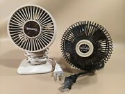 Pair Vintage Galaxy And Windy Tahoe Black White Mini Desk Fans