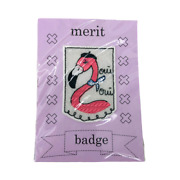 Camp Home Merit Badge Iron- On Patches Pink Flamingo