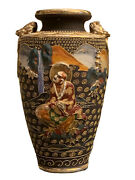 Antique Japanese Satsuma Pottery Vase Lavishly Decorated In High Relief