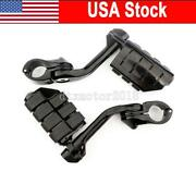 Black 2x Motorcycle Foot Pegs Mount Clamps For Harley Night Rod Train Road Glide