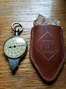 Hoffritz New York Made Germany Vintage 2-sided Map Measure Leather Case Works