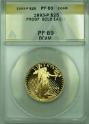 1993-p 25 1/2 Oz American Gold Eagle Age Coin Anacs Proof Pf-69 Dcam