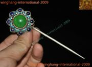 Chinese China Dynasty Silver Cloisonne Inlay Green Jade Gem Flower Hair Hairpin