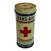 Vintage Johnson And Johnson Red Cross Band-aid Rounded Tin All Tin