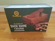 Woodburry Classic Wooden Pinewood Shoe Shine Trunk Kit Set New In Box