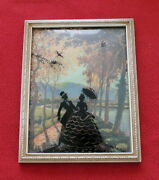 Vintage Reverse Painted Glass Silhouette Bubble Curved Picture Couple Out Strol