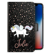 Unicorn Initial Phone Case Personalised Pink Name Marble Pu Leather Flip Cover