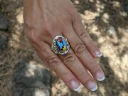 Navajo Ring Turquoise Inlay Signed John Mike Sterling Silver Jewelry Sz 9.5 Us