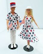 4th Of July Parade Barbie And Ken Doll Set Americana Patriotic Ooak Party Decor