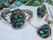 Navajo Livingston Webbed Bisbee Turquoise Sterling Silver Cuff Ring 6.5 Pendant