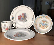 Wedgwood Peter Rabbit+mom+sisters 1 Bowl+2 Dishes+1 Cup=4 Beatrix Potter Englan