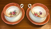 Aynsley Bone China Teacup And Saucer Pair Coral Gold Encrusted B5324
