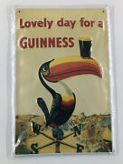 Guinness Lovely Day Tin Sign Shield 3d Embossed Arched Metal Approx 8 X 12nos