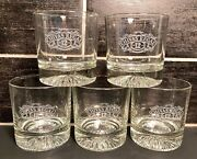 Set Of 5 Chivas Regal 12 Etched Whiskey Lowball Rocks Old Fashion Glasses
