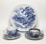 5 Piece Lot Vintage Blue Transferware Wedgewood And Old English Staffirdshire Ware