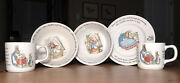 Wedgwood Peter Rabbit+mom+sisters 2 Bowls+2 Cups+1 Plate=4 Beatrix Potter Engla