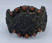 Antique Chinese Tibetan Silver And Red Coral Bracelet Bangle