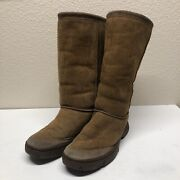 Ugg Ultimate Tall 2 Sand Suede Sheepskin Boots Womens Size 7