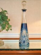 Val St. Lambert Tall Cut To Clear Blue Decanter In Epinal Pattern