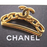 Logos Chain Used Hair Clip Gold 98 P France Vintage Authentic Ae297 O