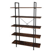 3/4/5 Tiers Industrial Bookcase And Book Shelves,vintage Wood Metal Bookshelves