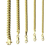 10k Yellow Gold Solid 2mm-6mm Miami Cuban Link Chain Necklace Bracelet 7-30