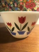 Large Fire-king Oven Ware Tulip Design Mixing Bowl 9.5andrdquo