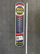 Large Vintage Mail Pouch Chewing Tobacco 39 Metal Thermometer Sign
