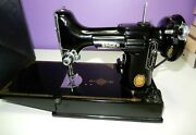 Vintage 1952 Singer 221 Featherweight Sewing Machine With Case Manual Keys Etc
