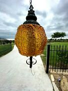 Vintage Spanish Wrought Iron Chandelier Amber Light Fixture Lamp / Swag Porch
