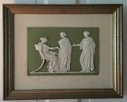 Antique Wedgwood Light Green Jasperware Plaque Penelope And Maidens 19th C Flaxman
