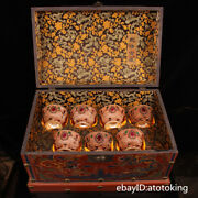 20 China Collection A Set Of Inlaid Gemstones For Cups With Old Lacquer Box