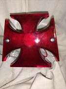 Iron Cross Rear Motorcycle Red And Chrome Taillight Size 4x3