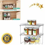 Stackable Cabinet Shelf Kitchen Organizers And Storage 2 Pack Pantry Shelves