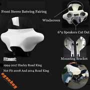 Detachable Stereo Batwing Fairing And 69 Speaker For Harley Road King 1994-up