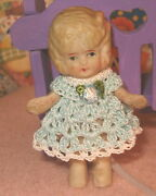 Handmade Miniature Doll Dress Made For Frozen Charlotte Or Any Bisque Doll