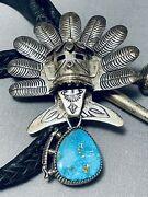 One Of Most Detailed Vintage Navajo Kachina Turquoise Sterling Silver Bolo Tie
