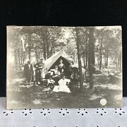 """Antique Black And White Photo """"fancy Camping"""" Picture Tent Rocking Chairs Hammock"""