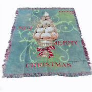 Seashells Topiary Merry Christmas Tapestry Afghan Throw By Sandy Lynam Clough