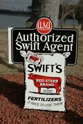 Old Style Lrg Swift's Red Label Fertilizer Farm Dairy Steel Sign Usa Made Super