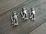 3 Tin Man Charms Antiqued Silver Halloween Pendants Wizard Of Oz Findings