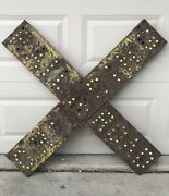 Vintage Early Railroad Crossing Crossbuck Cats Eye Reflective Sign