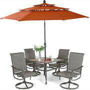 6 Pieces Patio Table Chairs Set With 10ft Umbrella Outdoor Swivel Rocker Chair